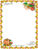 Thanksgiving Letterhead with Pumpkin