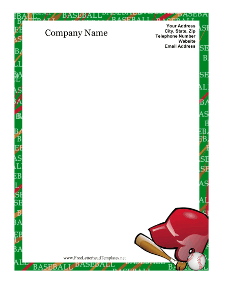 Baseball letterhead for Baseball card template microsoft word
