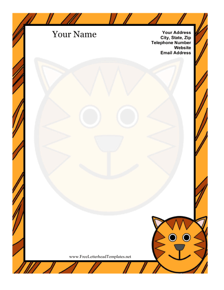 Cat Kid Letterhead Letterhead Template