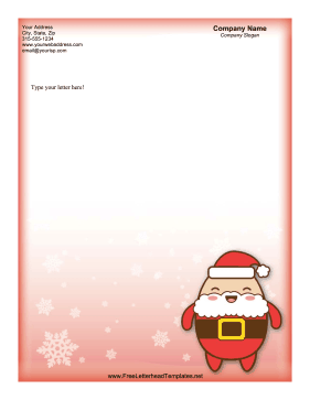 Christmas Letterhead Cute Red Santa Letterhead Template