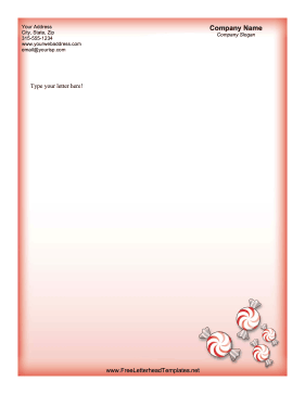 Christmas Letterhead Red Peppermints Letterhead Template
