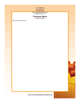 Christmas Present Orange Letterhead Template
