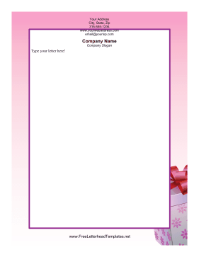 Christmas Present Pink Letterhead Template