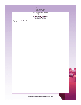 Christmas Present Purple Letterhead Template