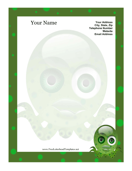 Crazy Octopus Kid Letterhead Letterhead Template
