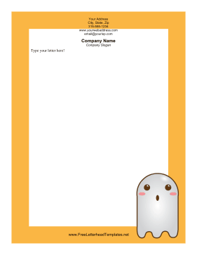 Cute Ghost Halloween Letterhead Letterhead Template