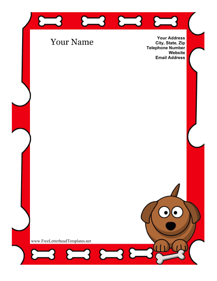 Dog Kid Letterhead Letterhead Template