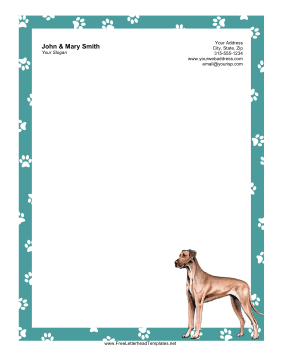 Dog Letterhead Great Dane Letterhead Template