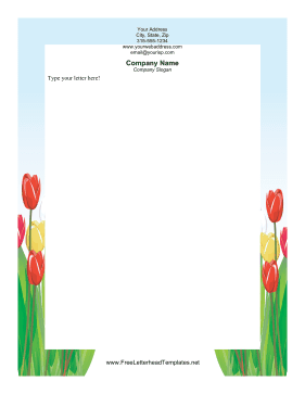 easter,new Tulips Letterhead Letterhead Template