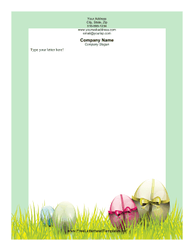Egg with Ribbons Easter Letterhead Letterhead Template