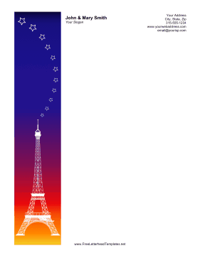 Eiffel Tower Sunset Letterhead Letterhead Template