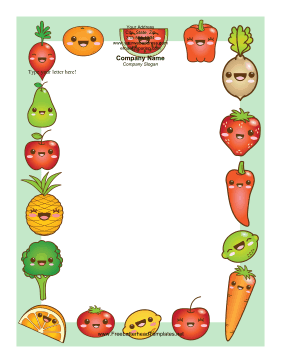 Fruits and Vegetables Letterhead Letterhead Template