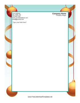 Golden Christmas Ornaments Letterhead Template