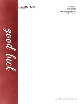 Good Luck Letterhead Letterhead Template