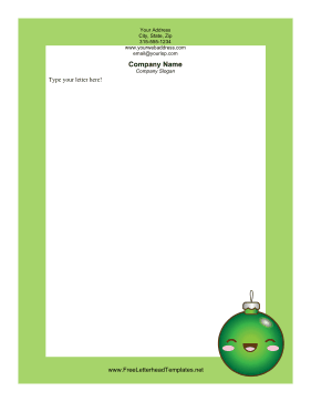 Green Christmas Ornament Letterhead Template