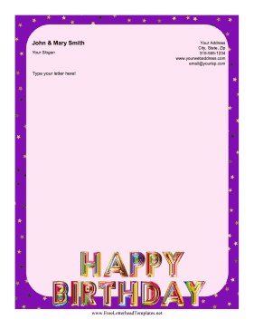 Happy Birthday Letterhead Letterhead Template