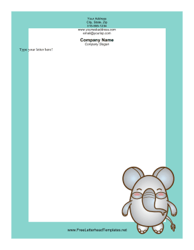 Happy Elephant Letterhead Letterhead Template