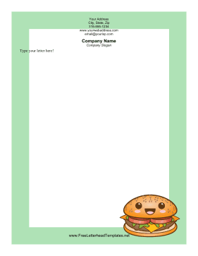 Happy Hamburger Letterhead Letterhead Template