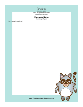 Happy Raccoon Letterhead Letterhead Template