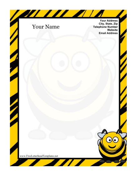 Honeybee Kid Letterhead Letterhead Template
