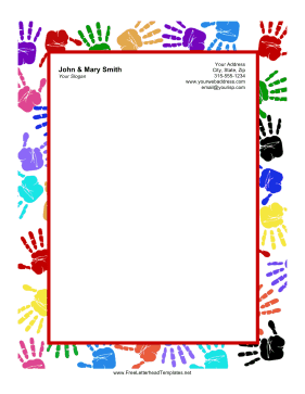 Kid Handprints Letterhead Letterhead Template