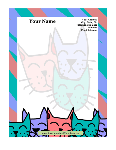 Kitty Kid Letterhead Letterhead Template
