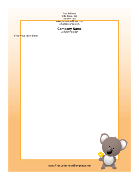 Koala with Flower Letterhead Letterhead Template