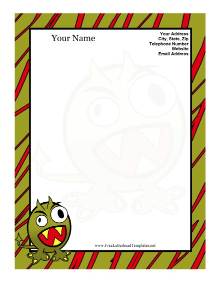 Monster Kid Letterhead Letterhead Template