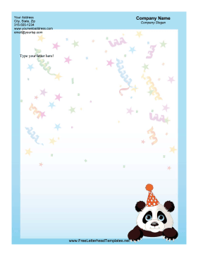 Panda Bear Party Letterhead Letterhead Template