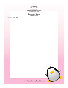 Penguin with Bowtie Letterhead Letterhead Template