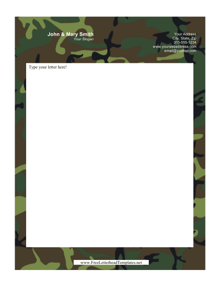 Camouflage Personal Letterhead
