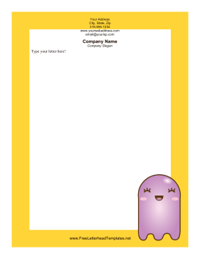 Purple Ghost Halloween Letterhead Letterhead Template