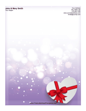 Purple Heart Candy Letterhead Letterhead Template