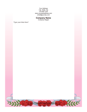 Rose Scroll Valentines Letterhead Letterhead Template