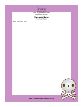 Skull and Bones Halloween Letterhead Letterhead Template