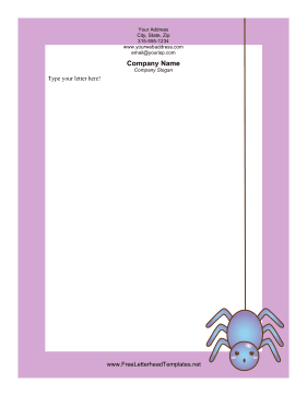 Spider Purple Halloween Letterhead Letterhead Template