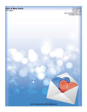 Two Hearts Envelope Letterhead Letterhead Template