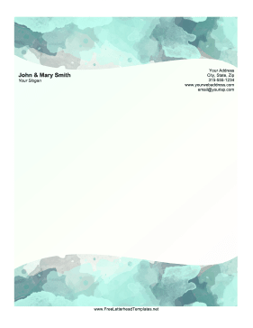 Watercolor Waves Letterhead Letterhead Template