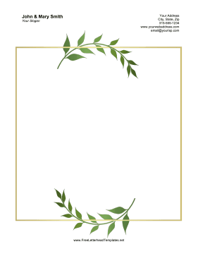 Wedding Laurels Letterhead Letterhead Template