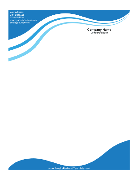 Business Letterhead with Blue Waves Letterhead Template