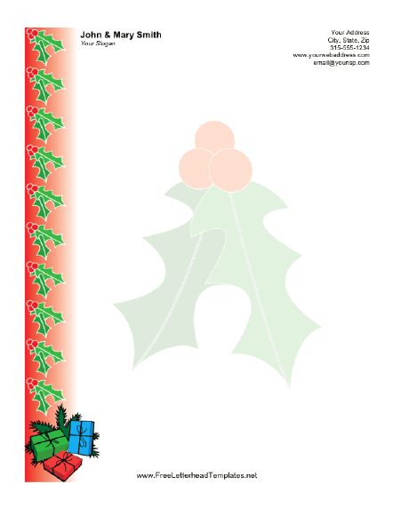 Christmas Letterhead with Holly Letterhead Template