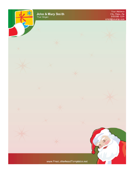 Santa Claus and Gift Letterhead Letterhead Template