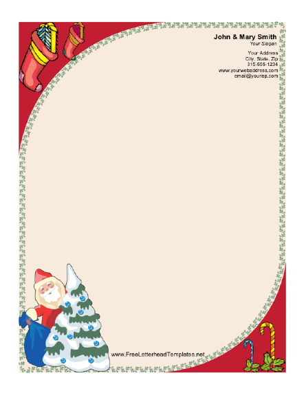 graphic regarding Free Printable Christmas Letterhead known as Santa Claus and Xmas Tree Letterhead