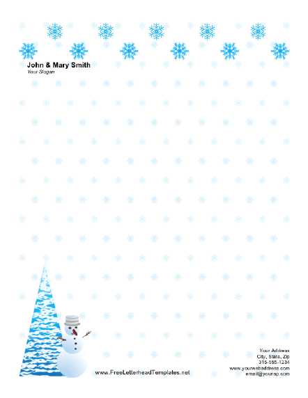Christmas Letterhead with Snow Letterhead Template
