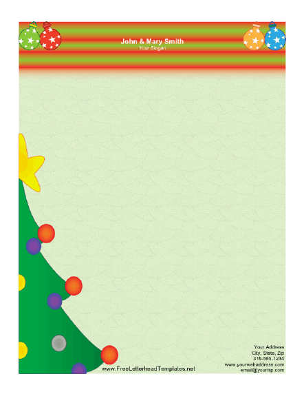 Christmas tree letterhead for Free christmas stationery templates