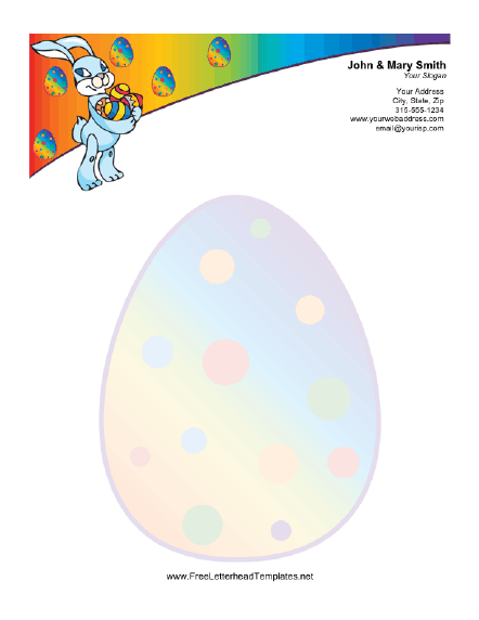 Easter Letterhead with Easter Bunny Carrying Eggs Letterhead Template