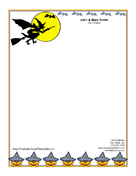 Halloween Witch Letterhead Letterhead Template