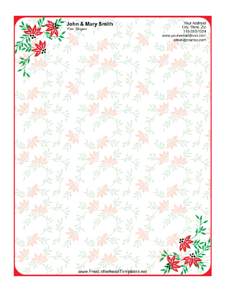 Floral Leaves and Berries Letterhead Letterhead Template