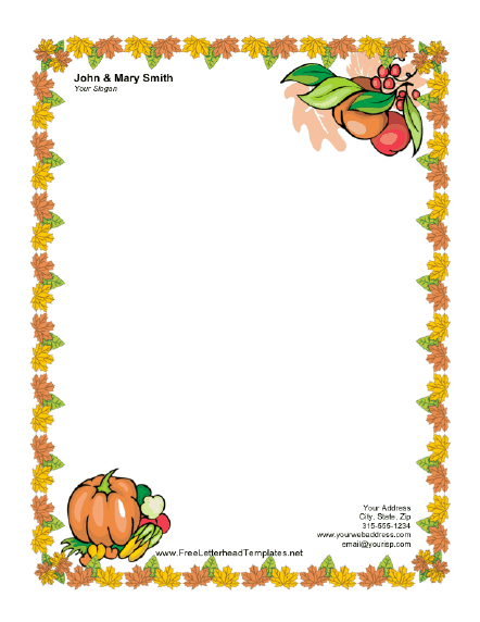 Thanksgiving Letterhead with Pumpkin Letterhead Letterhead Template