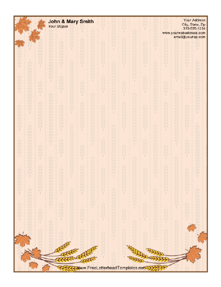Harvest letterhead for Thanksgiving letterhead